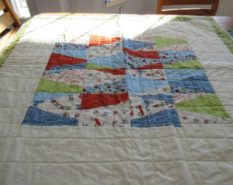 Pieced Boys Crib Quilt with Scoot Fabric designed by Riley Blake