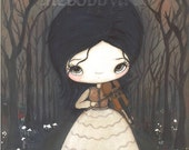 Violin Print Girl In the Dark Forest Bird Wall Art---The Violinist
