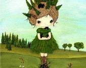 Bear Print Forest Girl Tree Whimsical Wall Art---Little Forest Bear Care