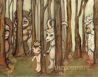 Where The Wild things Are Print Moishe Art Children Monster Dream Wall Art Forest Max Carol