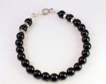 Black Onyx and silver 925e men bracelet