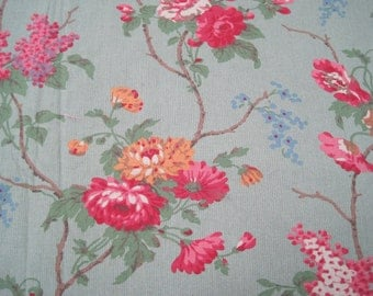 Ralph Lauren Home Collection Floral Cotton Emerald Green Rose 3 1/4 Continuous Yards