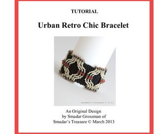 Beading Tutorial, Urban Retro Chic Bracelet. Beading Pattern with Twin Beads, Crystals and Seed Bead. Beadweaving Beadwork PDF File Pattern