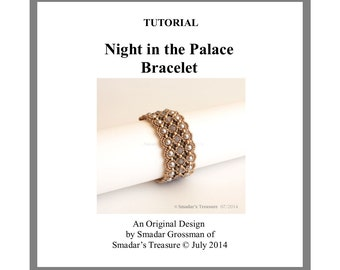 Beading Tutorial, Night in the Palace Bracelet. Beading Pattern Beadweaving Instructions with Seed Beads, Pearls and Crystals. Beadwork PDF