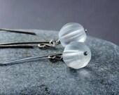 Glass    Earrings      Oxidized  Silver  Glass Jewelry White Earrings Clear Frosted  Earrings Everyday Jewelry Casual Jewelry  Woman Jewelry