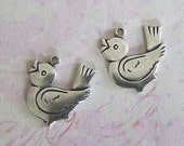 NEW 2 Silver Bird Charms 3654