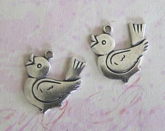 2 Silver Bird Charms 3654