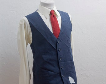 Men's Suit Vest / Large / Vintage Navy Waistcoat / Screen Printed Sparrow / Size 42