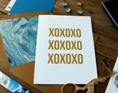 XOXO Indigo Marble Greeting Card