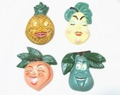 Vintage Anthropomorphic Fruit Plaques Chalkware Set of Four