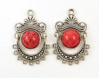 Red Antique Silver Boho Tribal Chandelier Earring Findings |R3-8|2