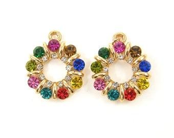 Colorful Rhinestone Earring Findings Jewel Tone Rainbow Wreath Gold Round Pendant Charm |R1-3|2