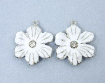White Flower Charm Enamel Rhinestone Silver Jewelry Pendant |S9-7|2