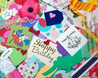 Scrapbook Embellishment Kit - Scrap Pack - Crafting Grab Bag - Papers, Embellishments, Ribbon DESTASH - Over 275 Pieces