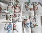 Vintage 1940s Hand Embroidered Linen Set of 7 Black Americana Mammy and Pappy Days of the Week Dish Towels / Aunt Jemima / Kitchen Towels