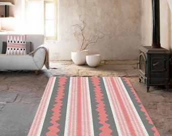 Decorative Rug, modern rug, contemporary rug, carpet, grey and pink rug, contemporary rug, living room decor, original rug, geometric carpet