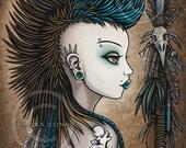 Tribal Warrior Mohawk Wolf Tattoo Shapeshifter Tala BIG Prints