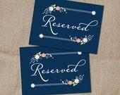 Folk Flower Wedding Reserved Sign - Navy Blue Saved Table Sign - Wedding Favor Print -  Floral Spray Sign - Favor Table sign