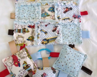 Rag Quilt  Lovey Taggie  Blanket  Security Flannel Baby  Toddler Gift Set  3 Crinkle  Squares Toys