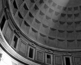 Roman Holiday - Alleluja (black and white Rome Pantheon photo print, historical landmark classical architecture photography, oculus saintly)