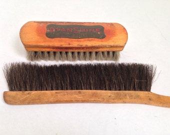Two Vintage Brushes / Horsehair Antique Brushes / Shoeshine Brush and Drafting Brush / Brush Collection Advertising