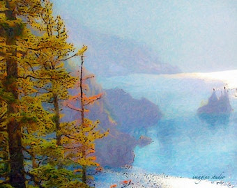 Nature, Modern Landscape, Springtime, Fine Art Print, Giclee Archival Print, Photomontage, Collage, Painted Photographs,