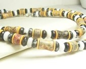 Men's Necklace, Brown, Orange, Reddish, Black and White Gemstone beads. Sterling Silver. Jasper and African Vinyl beads