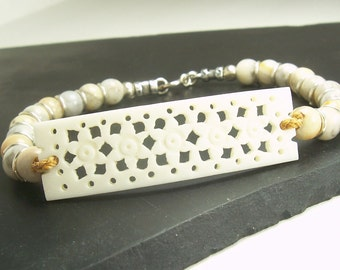 Women's Flowery White Bone Bracelet w Light Yellow and Grey / White Agate Gemstones with Sterling Silver on a Handmade Nylon Cord