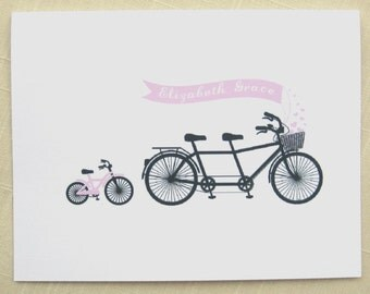 Personalized Baby Thank Yous - Set of 25 Pink Bicycle Note Cards