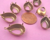 12 Brass Ox Pear Prong Setting 18x13 1 Ring Open Back charm