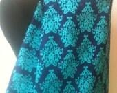Nursing Cover- Royal Blue Turquoise Damask  Second Item Ships Free