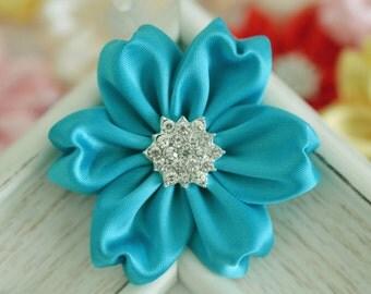 NEW! 2pcs Handmade Satin flowers--turquoise (FB1061)
