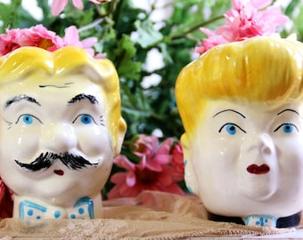Aunt Bea And Tom Vintage Lady & Man Head Vase From Andy Griffith Show