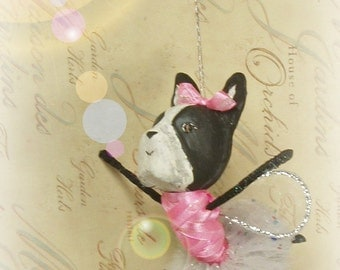 Boston Terrier ballerina pixie fairy ornament paper clay dog doll toni Kelly original ballerina ornament dog wearing a tutu vintage retro