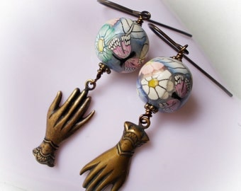 Romantic flower earrings artist polymer clay flower and butterfly beads oxidized brass long elegant vintage style floral rose blue hand