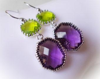 Silver earrings, tanzanite, olivine, purple earrings, grass green earrings, glass dangles, drop earrings, modern handmade silver jewelry