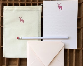 letterpress stag letter writing set