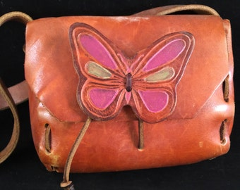 Vintage Leather Boho Purse with Butterfly and Long Handle