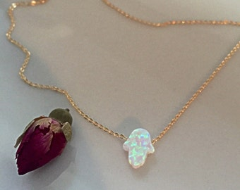 The Hamsa Hand - Do you believe in LUCK - /synthetic opal and gold filled/ simple and elegant design by - Simag