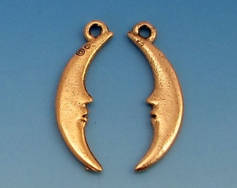 Crescent Moon Charm, Man In The Moon, Antique Gold, 2 Pieces,  AG265