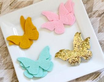 Glitter Butterfly Wool Felt Butterflies 16 Vintage Butterflies Gold Glitter Butterfly Mint Pink