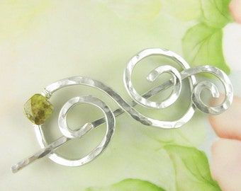 Silver Shawl Pin/Brooch Hand Formed Spiral with Green Garnet