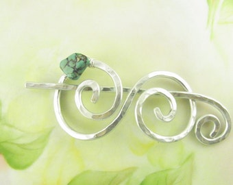 Silver Shawl Pin/Brooch Hand Formed Double Spiral with Genuine Turquoise