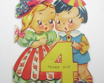 Vintage Fourth Birthday Greeting Card with Cute Little Boy and Girl and Large Number Four