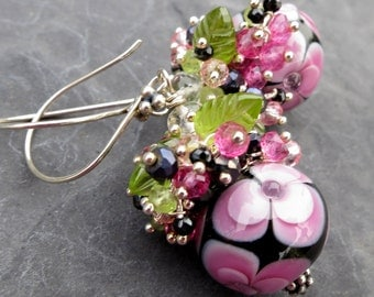 Floral glass bead earrings in sterling silver - peridot leaves - gemstone jewelry - lampwork glass - garden party - pink green black