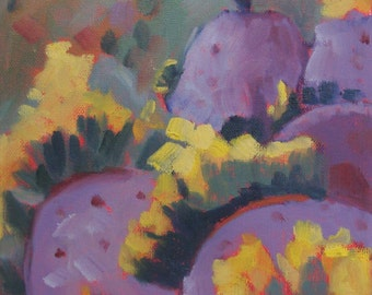 Still Life Oil Painting:  Purple Prickly Pear Cactus 8 x 8 Canvas