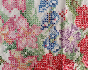 Beautiful Vintage Cross Stitch Textile of Rose Floral Bouquet Sewing Ephemera