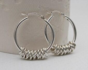 Sterling Silver Hoola Hoop Earrings, Hoop Earrings, Silver Earrings, Gift for Mom, Jewellery Gift for Sister, Twisted Rings