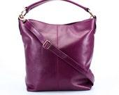 Leather Handbag, Leather Purse, Messenger Bag Purple