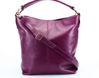 Leather Handbag, Leather Purse, Messenger Bag Purple